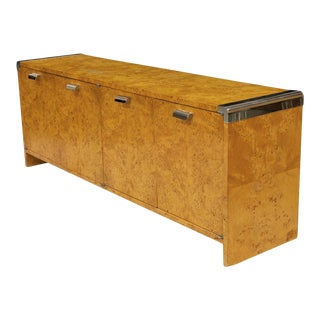 Leon Rosen for Pace Burl Wood and Polished Stainless Credenza For Sale