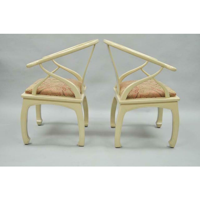 Asian Vintage Cream Lacquered James Mont Style Ming Horseshoe Lounge Chairs - A Pair For Sale - Image 3 of 10
