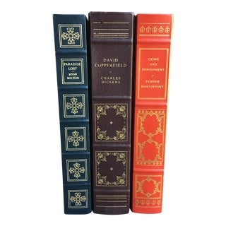 1980s Vintage Leather Bound Books - Set of 3 For Sale