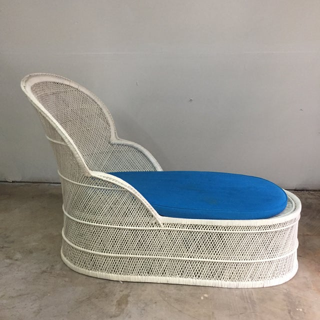 Boho Chic Vintage Bohemian Wicker Rattan Lounge Chair For Sale - Image 3 of 7