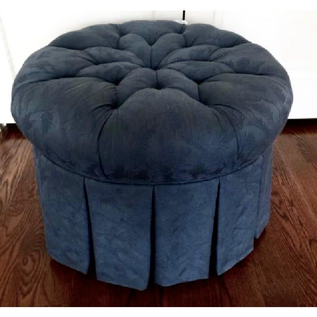 Tufted Black Brocade Round Traditional Ottoman - Image 2 of 4