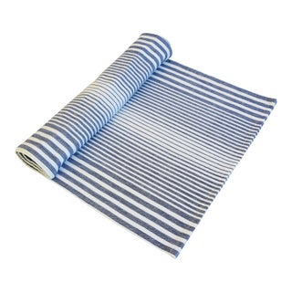 "Blue & White Striped French Country Table Runner 110"" Long For Sale"