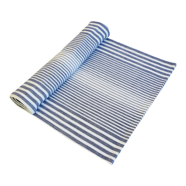 """Blue & White Striped French Country Table Runner 110"""" Long For Sale"""