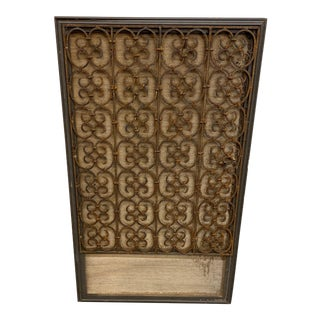 Decorative Ironwork Framed Panel With Grasscloth For Sale