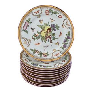 Antique Chinese Famille Rose Fruit and Butterfly Dinner Plates- Set of 12 For Sale