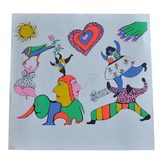 1970s Vintage Niki De St Phalle Je' Taime Feminist Monotype Print For Sale