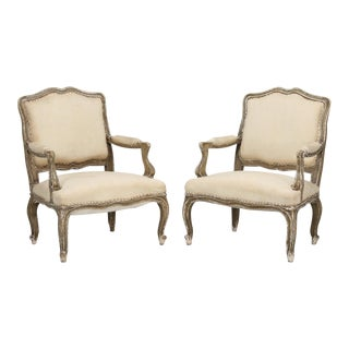Antique Pair of Italian Armchairs in Original Paint For Sale