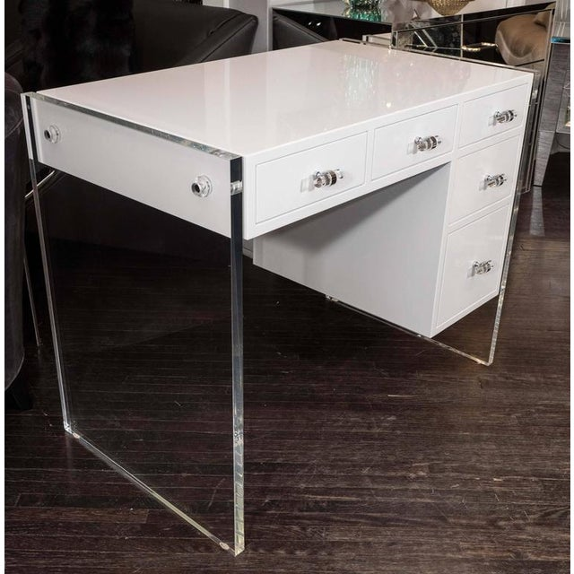 Lacquer White High Gloss Lacquer Desk with Lucite Side Panels For Sale - Image 7 of 7