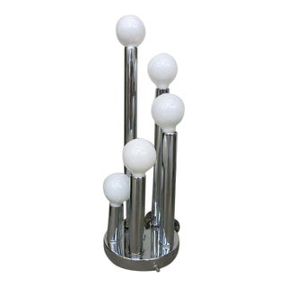 Vintage Mid Century Table Lamp Chrome Cylindrical Stacks Globe Lights For Sale