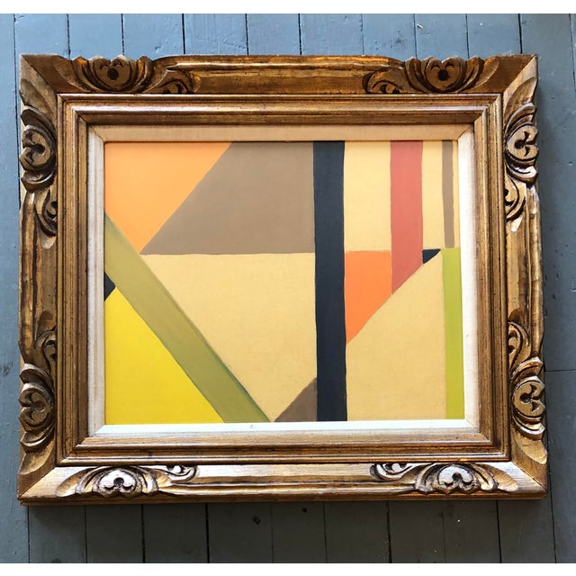 1960s Mid Century Geometric Abstract Painting Ornate Frame For Sale - Image 5 of 5