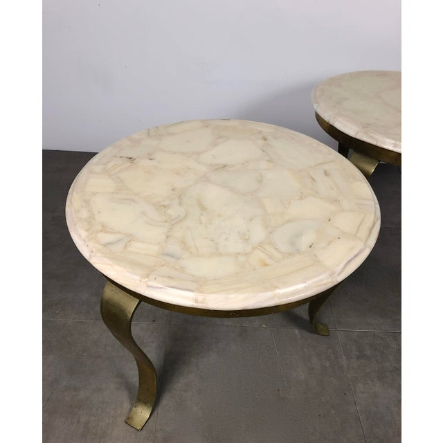 Pair Muller's Onyx & Brass End Tables, 1960's For Sale - Image 10 of 11