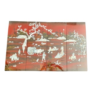 Vintage Chinoiserie Red Lacquer Wall Plaques With Mother of Pearl Inlays - Set of 4 For Sale