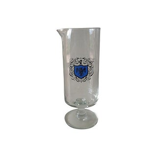 Footed Cocktail Mixer With Silver & Blue Crest For Sale