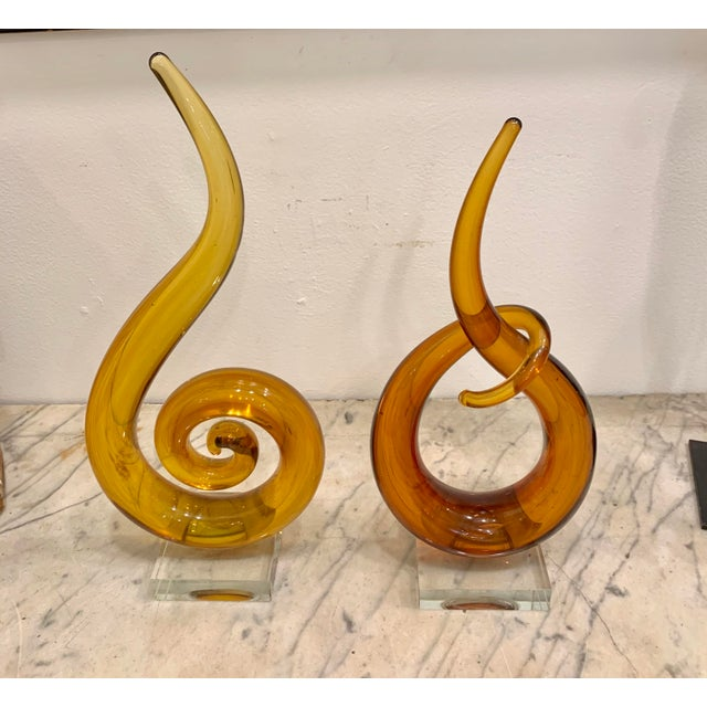 Venetian Murano Glass Sculptures - a Pair For Sale - Image 4 of 6