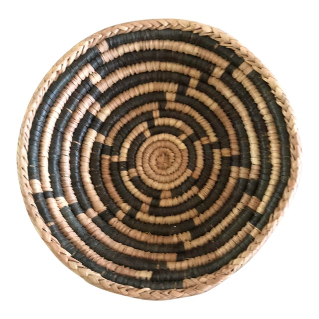 Small African Charcoal Handwoven Basket For Sale