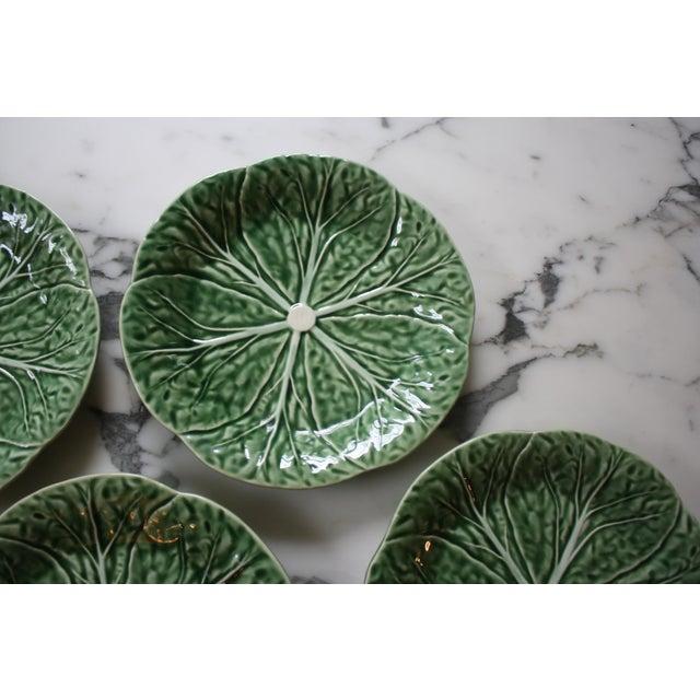 Set of 4 Bordallo Pinheiro Green & White Majolica Style Cabbage Salad Plates For Sale In Dallas - Image 6 of 10