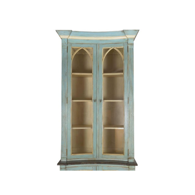 Swedish Gustavian Style Blue Painted Bookshelf Cabinet Bookcase by Lillian August For Sale - Image 6 of 13