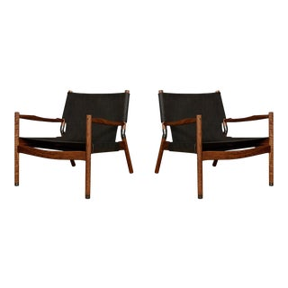 Pair of Erickson Aesthetics Oak Lounge