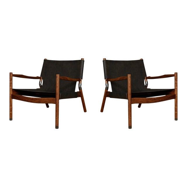Pair of Erickson Aesthetics Oak Lounge For Sale