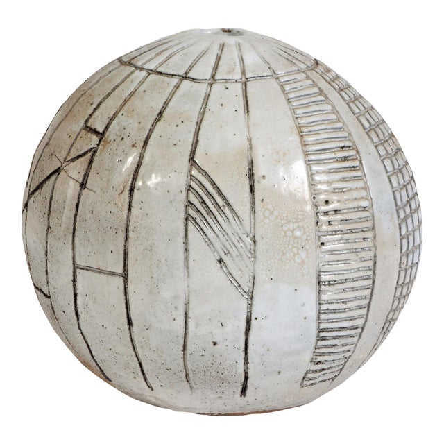 Large Heavy Art Pottery Spherical Vase For Sale