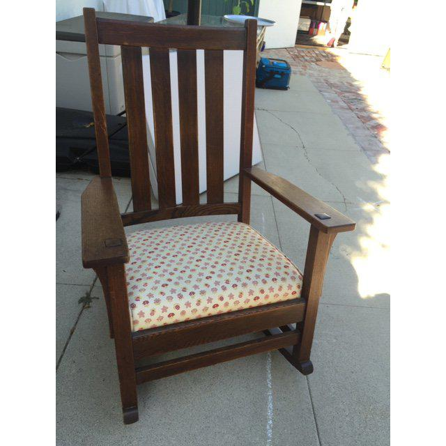 Brown 1930s Vintage Mission Style Rocking Chair For Sale - Image 8 of 10
