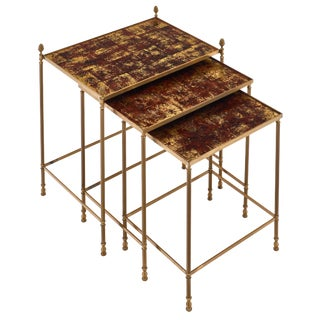 Maison Baguès Eglomised Nesting Tables For Sale