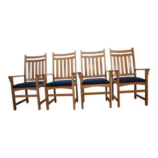Late 20th Century Oak Arm Chairs- Set of 4 For Sale