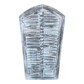 Large Double Louvered Arched Cathedral Shutter For Sale