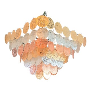 Large Pyramidal Vistosi Murano Mid-Century Modern Gold, Silver, Copper Leaf Discs Chandelier For Sale
