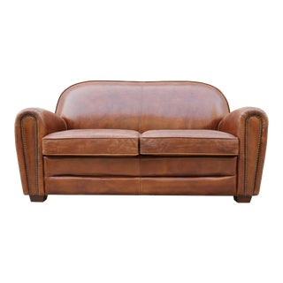 Pasargad Home Paris Club Brown Leather Loveseat For Sale