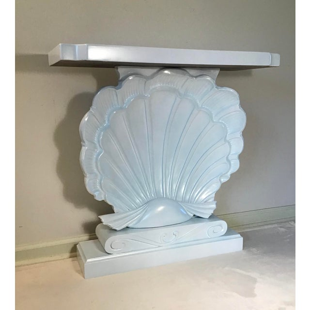 Mid-Century Modern Palm Beach Regency 1950s Edward Wormley Dunbar Style Carved Wood Shell Console Table White Blue Pearl For Sale - Image 3 of 13