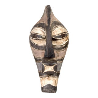 African Songye Black and White Tribal Mask For Sale