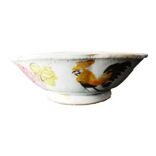 Old 1900's Chinese Porcelain Rooster Bowl