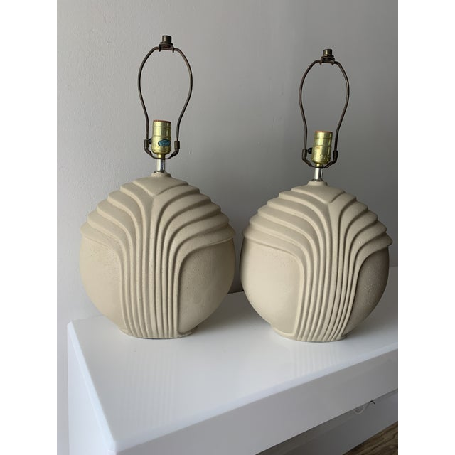 """Pair of 1980's art deco style plaster table lamps. Original wiring in working condition 21"""" H to top of finial Plaster..."""