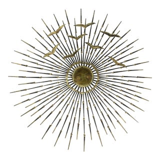 Mid-Century Modern Brutalist Iron Nail, Gilded and Brass Starburst Wall Sculpture For Sale
