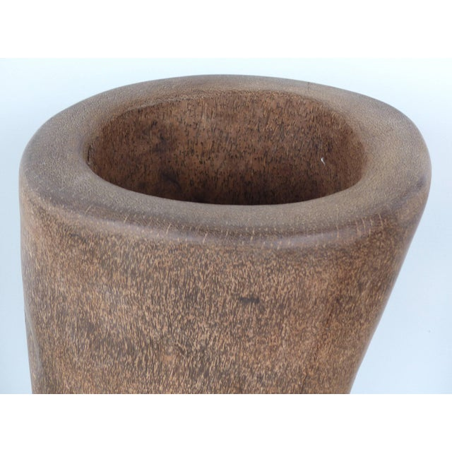 Contemporary Organic Modern Palm Wood Umbrella Stand, Vessel or Vase For Sale - Image 3 of 7