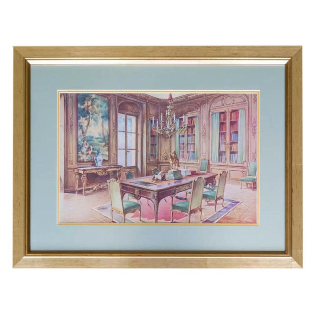 Paper Antique French Interiors Decor Prints - Set of Six For Sale - Image 7 of 8