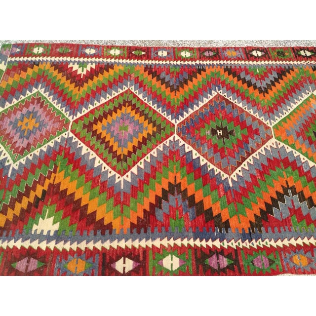 Vintage Turkish Kilim Rug - 5′7″ × 8′7″ For Sale - Image 5 of 9
