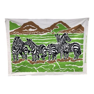 Unstretched Zebra Screen Print Textile Art For Sale