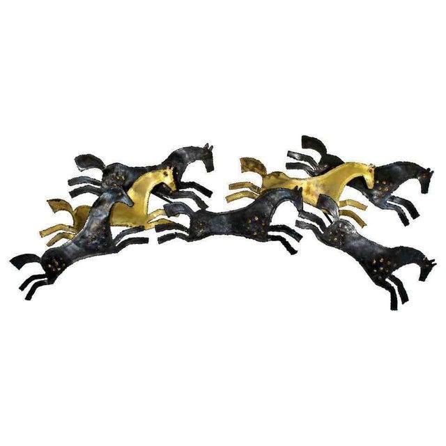 Black 1960s Mid Century Modern Brutalist Hammered Metal Horse Wall Art Sculpture For Sale - Image 8 of 8