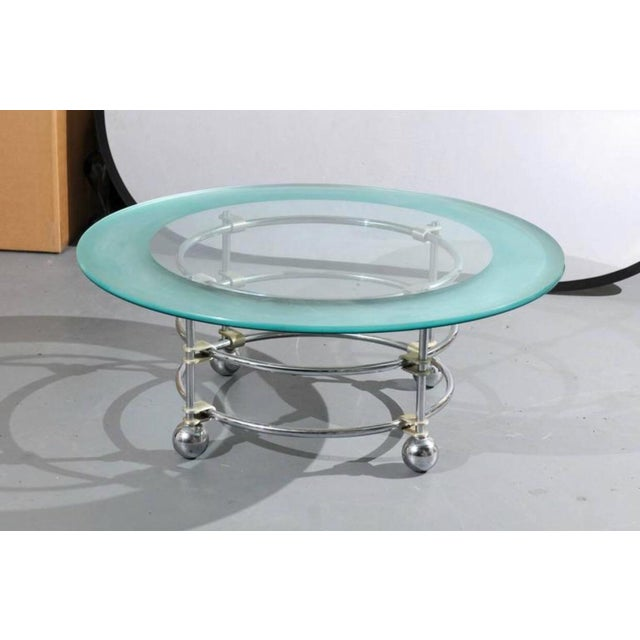 Jay Spectre Jay Spectre for Century Chrome and Glass Cocktail Table For Sale - Image 4 of 5