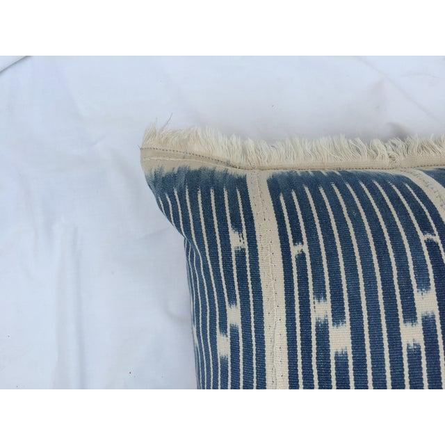 Indigo Ikat Fringe African Pillows - A Pair - Image 7 of 7