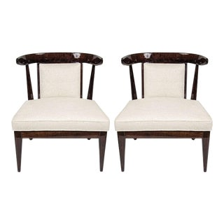 Pair of Mid-Century Modernist Klismos Style Chairs in Ebonized Walnut For Sale