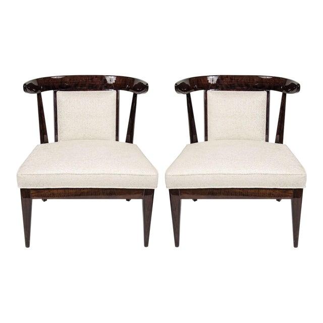 Pair of Mid-Century Modernist Klismos Style Chairs in Ebonized Walnut For Sale