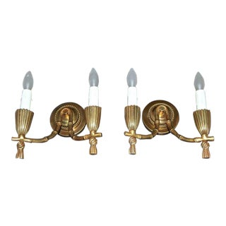 1930s Mid-Century Modern Baguès Bronze Faux Bamboo Wall Sconces - a Pair For Sale
