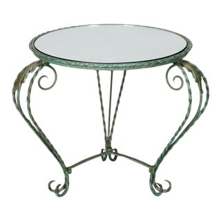 Italian Iron Mirror Top Low Round Side Table For Sale