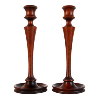 Antique Edwardian C.1920s Turned Mahogany Candlesticks by w.a. Bates - a Pair For Sale