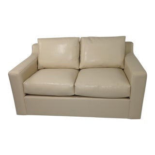 Modern Designer Faux Leather Loveseat For Sale