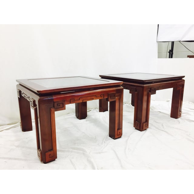 Pair Stunning Asian Modern Ming Style Side Tables with Thick Glass Tops. Greek Key Style with Asian Twist Carved Detail....