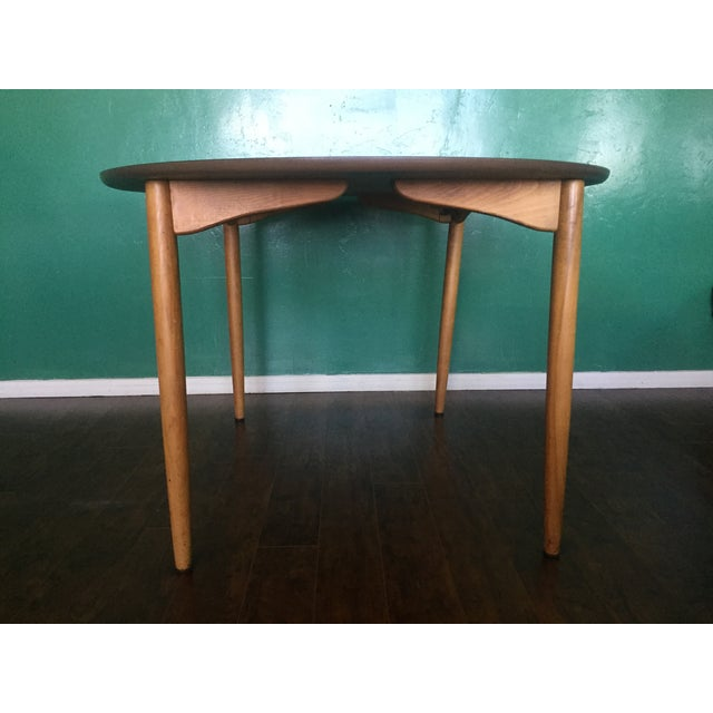 Mid Century Modern Oval Table With Leaf - Image 6 of 11